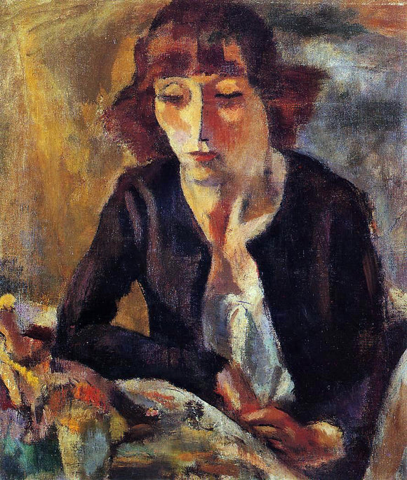 Jules Pascin Portrait of Hermine David - Canvas Art Print