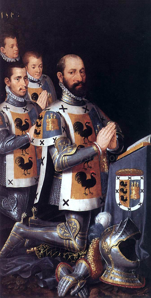 Pieter Pourbus Portrait of Jan Lopez Gallo and His Three Sons - Canvas Art Print