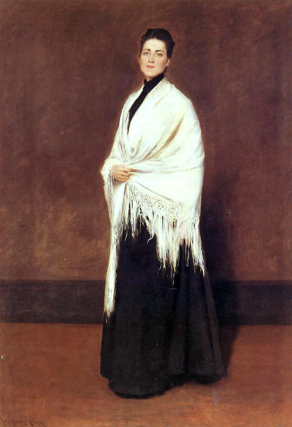 William Merritt Chase Portrait of Lady C. (also known as Lady with a White Shawl) - Canvas Art Print