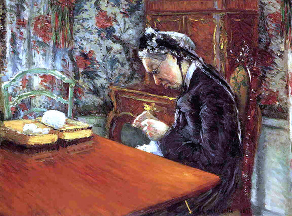 Gustave Caillebotte Portrait of Madame Boissiere Knitting - Canvas Art Print