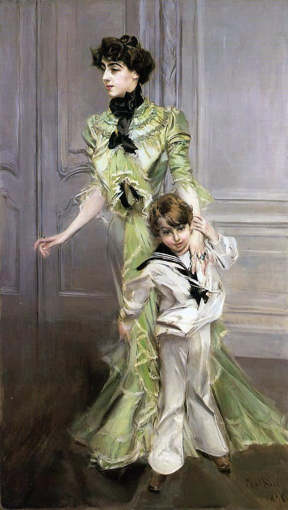 Giovanni Boldini Portrait of Madame Georges Hugo (nee Pauleen Menard-Dozian) and Her Son, Jean - Canvas Art Print
