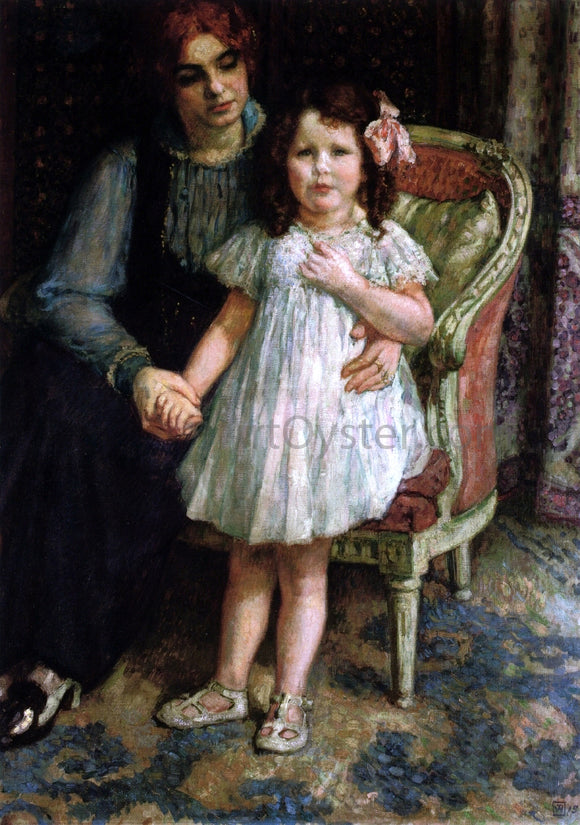 Theo Van Rysselberghe Portrait of Madame Goldner Max and Her Daughter Juliette - Canvas Art Print