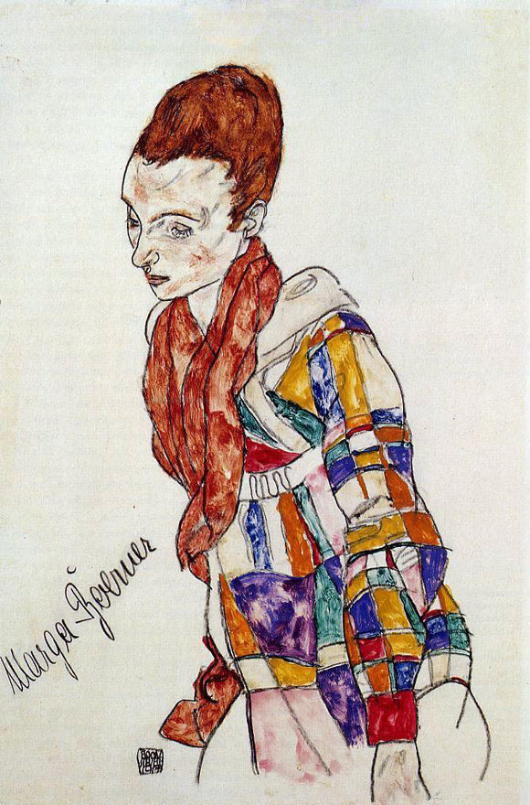 Egon Schiele Portrait of Marga Boerner - Canvas Art Print
