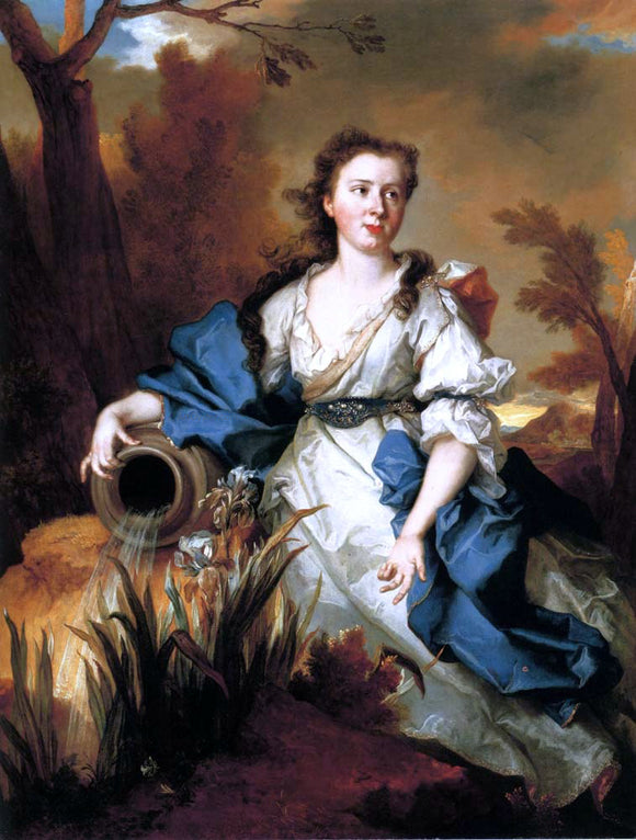 Nicolas De Largilliere Portrait of Marianne de Mahony, full-length, in a blue and white dress, as a water nymph - Canvas Art Print