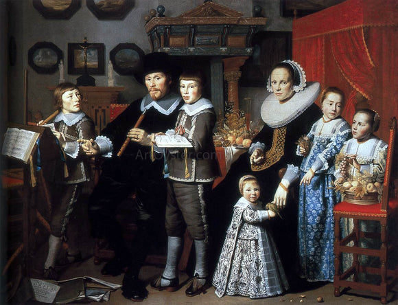Hendrick Cornelisz Van Vliet Portrait of Michiel van der Dussen and His Family - Canvas Art Print