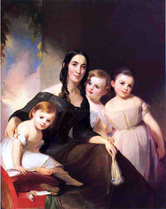 Thomas Sully Portrait of Mrs. James Robb and Her Three Children - Canvas Art Print