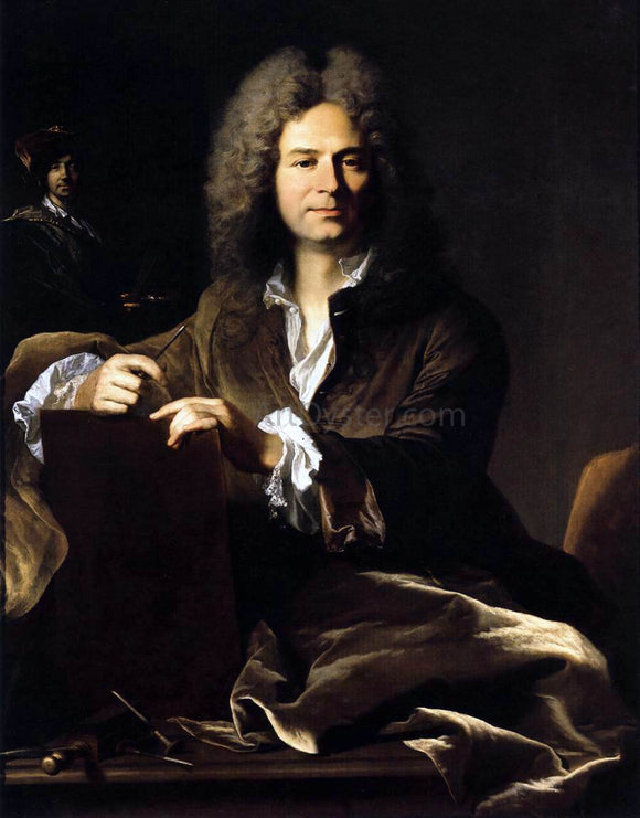 Hyacinthe Rigaud Portrait of Pierre Drevet - Canvas Art Print