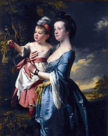 Joseph of Derby Portrait of Sarah Carver and her daughter Sarah - Canvas Art Print
