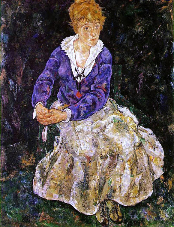 Egon Schiele Portrait of the Artist's Wife, Seated - Canvas Art Print