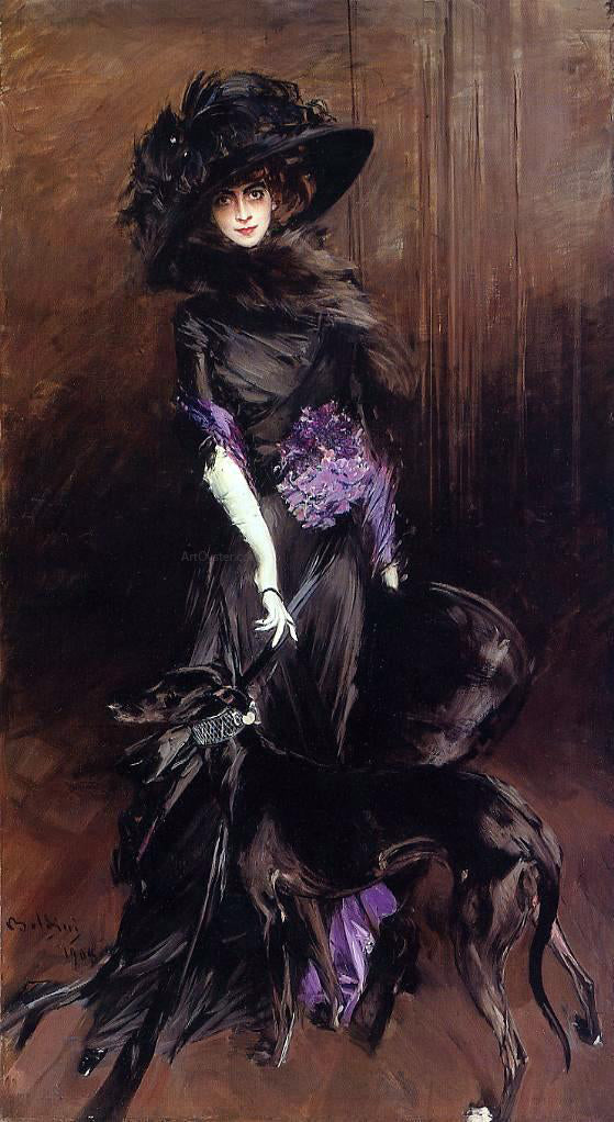 Giovanni Boldini Portrait of the Marchesa Luisa Casati, with a Greyhound - Canvas Art Print