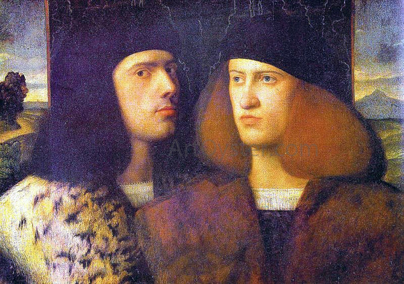 Giovanni Cariani Portrait of Two Young Men - Canvas Art Print