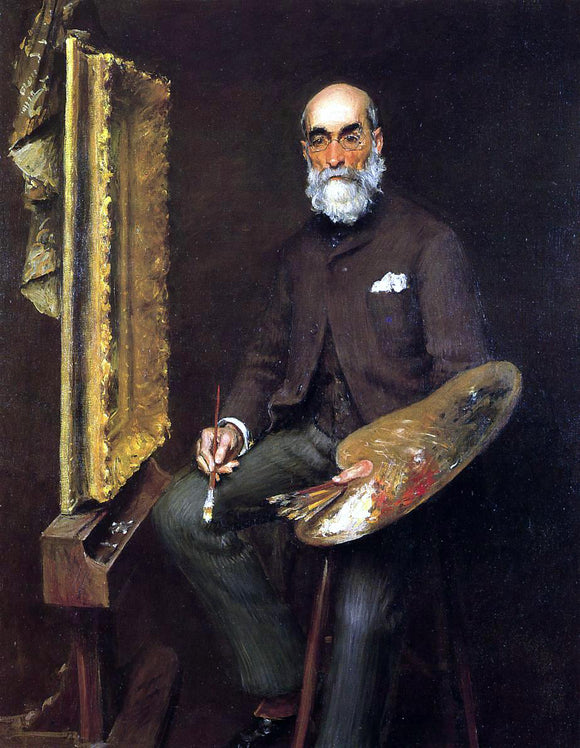 William Merritt Chase Portrait of Worthington Whittredge - Canvas Art Print