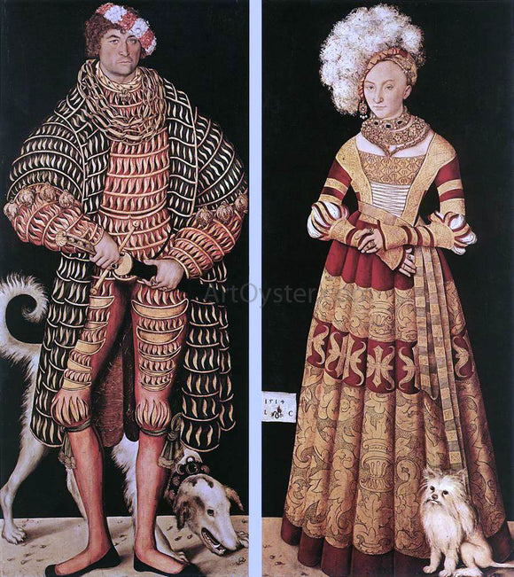 The Elder Lucas Cranach Portraits of Henry the Pious, Duke of Saxony and His Wife Katharina Von Mecklenburg - Canvas Art Print