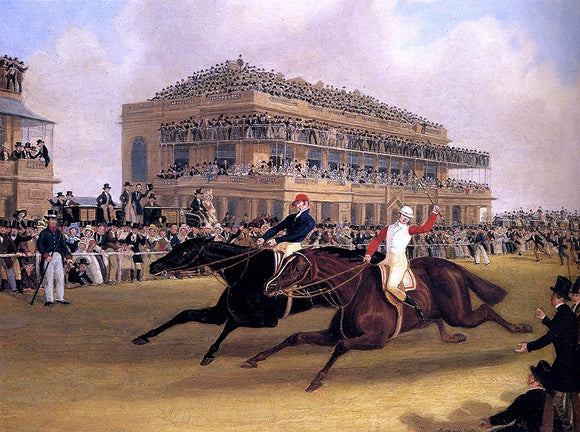 James Pollard Priam beating Retriever at Doncaster on September 23, 1830 - Canvas Art Print