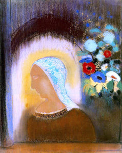 Odilon Redon Profile and Flowers - Canvas Art Print