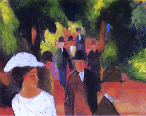 August Macke Promenade (with Half Length of Girl in White) - Canvas Art Print