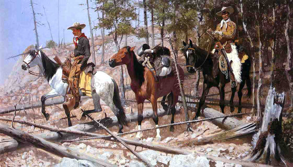 Frederic Remington Prospecting for Cattle Range - Canvas Art Print