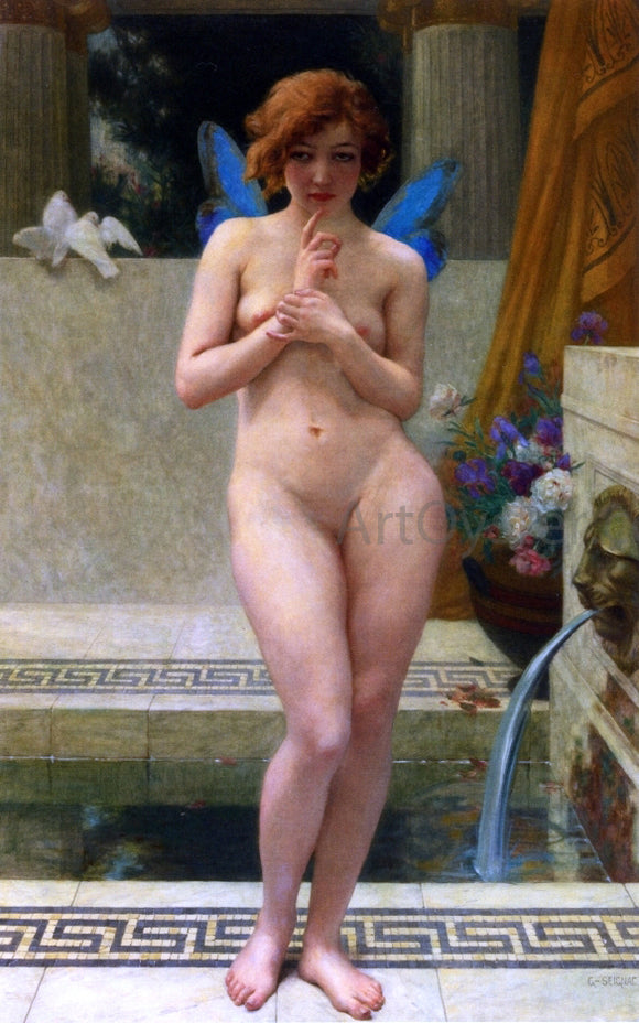 Guillaume Seignac Psyche at a Fountain - Canvas Art Print