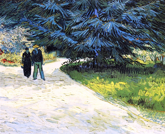 Vincent Van Gogh Public Garden with Couple and Blue Fir Tree - Canvas Art Print