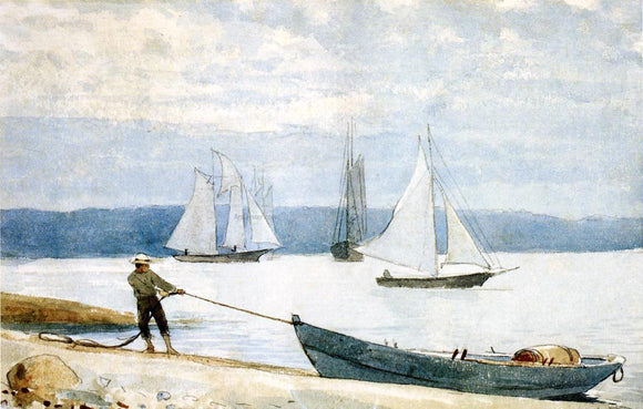 Winslow Homer Pulling the Dory - Canvas Art Print