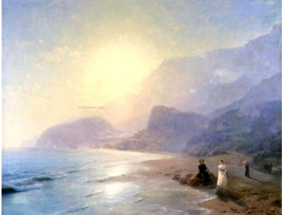 Ivan Constantinovich Aivazovsky Pushkin and Countess Raevskaya by the sea near Gurzuf and Partenit - Canvas Art Print