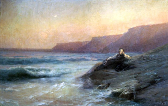 Ivan Constantinovich Aivazovsky Pushkin on Coast of Black Sea - Canvas Art Print