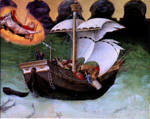 Gentile Da Fabriano Quaratesi Altarpiece: St Nicholas Saves a Storm-tossed Ship - Canvas Art Print