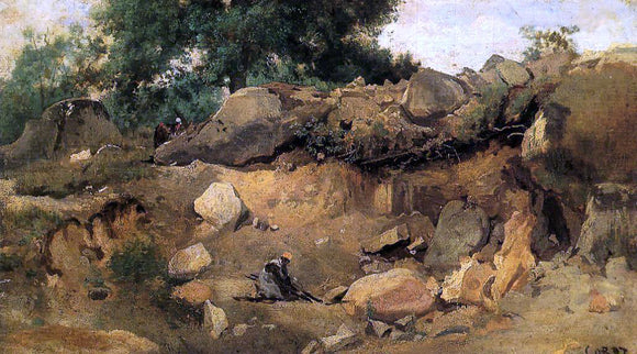 Jean-Baptiste-Camille Corot Quarry of the Chaise-Mre at Fontainebleau - Canvas Art Print