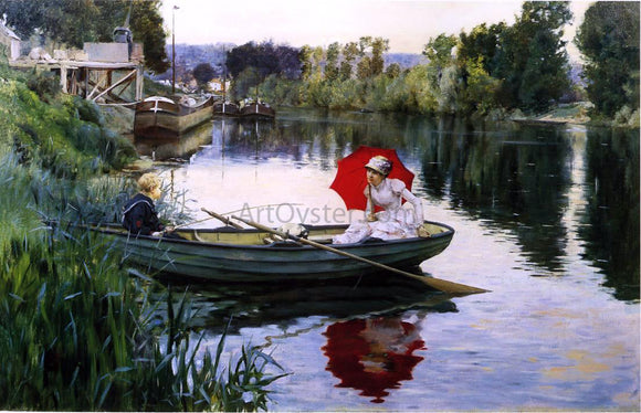 Julius LeBlanc Stewart Quiet Day on the Seine - Canvas Art Print