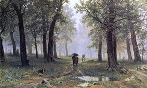 Ivan Ivanovich Shishkin Rain in an Oak Forest - Canvas Art Print