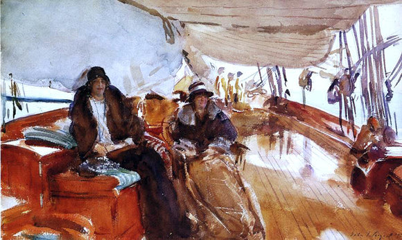 John Singer Sargent Rainy Day on the Deck of the Yacht Constellation - Canvas Art Print