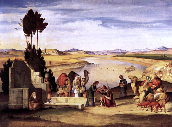 Johann Alban Ramboux Rebecca and Eliezer at the Well - Canvas Art Print