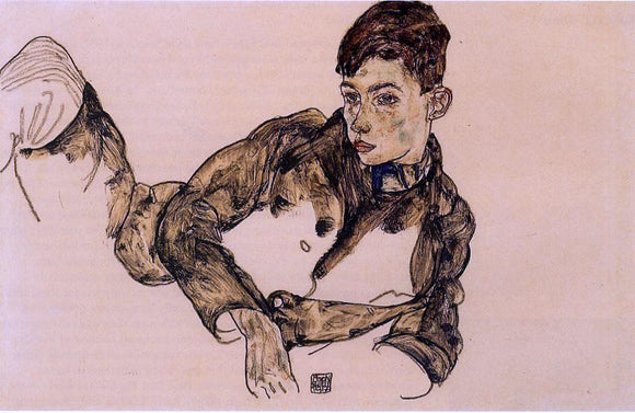 Egon Schiele Reclining Boy Leaning on His Elbow - Canvas Art Print