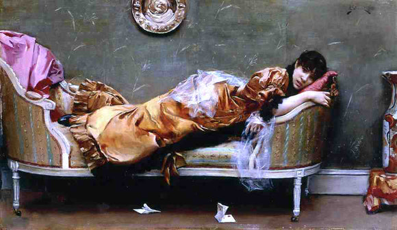 Julius LeBlanc Stewart Reclining Woman - Canvas Art Print