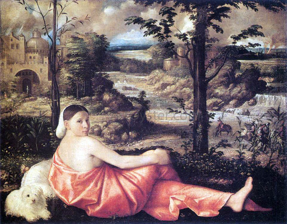 Giovanni Cariani Reclining Woman in a Landscape - Canvas Art Print