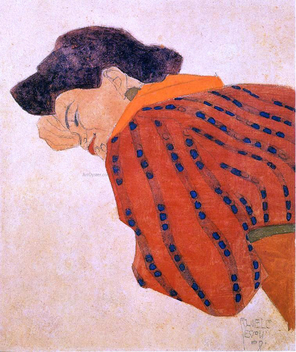 Egon Schiele Reclining Woman with Red Blouse - Canvas Art Print