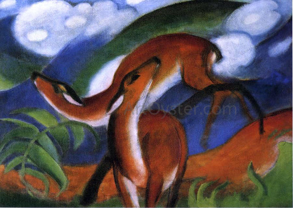Franz Marc Red Deer II - Canvas Art Print