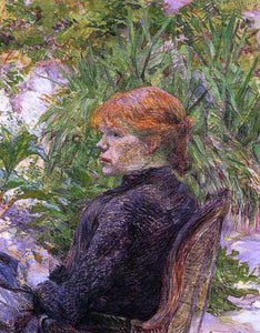 Henri De Toulouse-Lautrec Red Haired Woman Seated in the Garden of M. Forest - Canvas Art Print