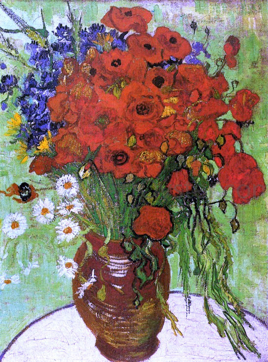Vincent Van Gogh A Vase with Red Poppies and Daisies - Canvas Art Print
