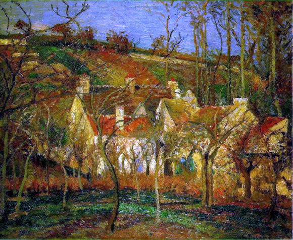 Camille Pissarro Red Roofs, Corner of a Village, Winter (also known as Cote de Saint-Denis at Pontoise) - Canvas Art Print