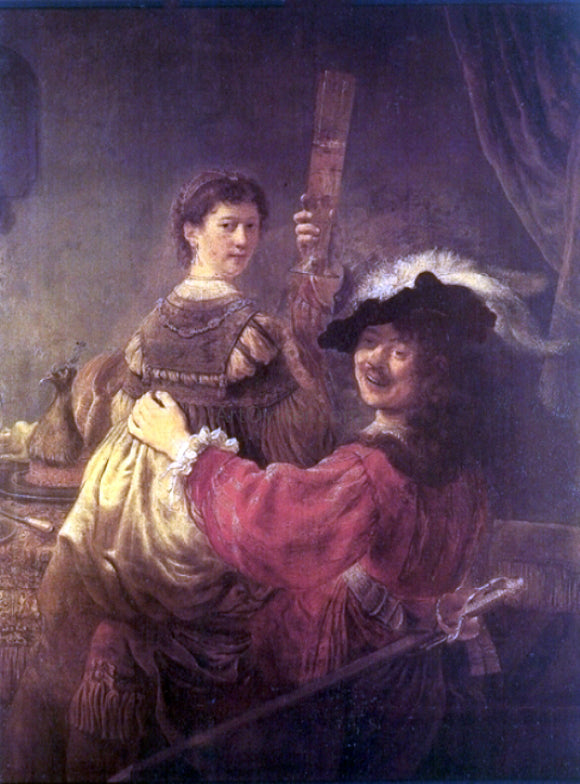Rembrandt Van Rijn Rembrandt and Saskia in the Scene of the Prodigal Son in the Tavern - Canvas Art Print
