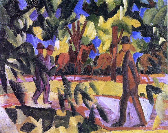 August Macke Riders and Strollers in the Avenue - Canvas Art Print