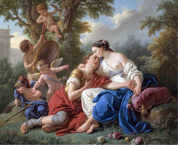 Louis-Jean-Francois Lagrenee Rinaldo and Armida - Canvas Art Print