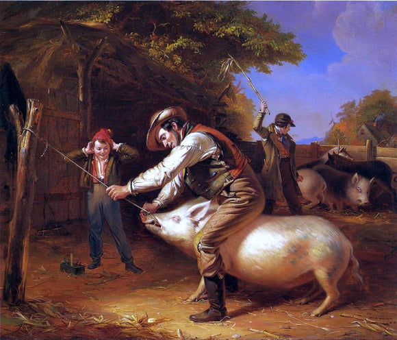 William Sidney Mount Ringing the Pig (also known as Scene in a Long Island Farm-Yard) - Canvas Art Print