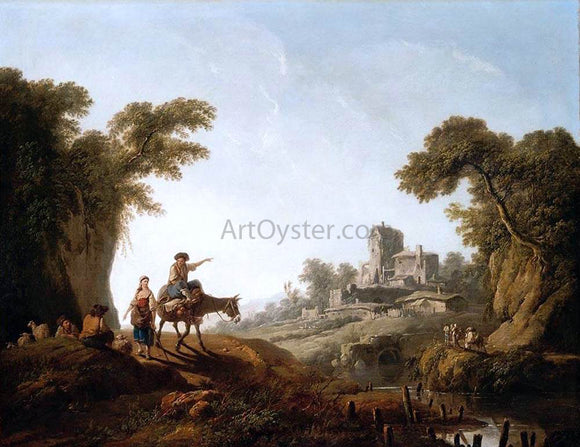 Jean-Baptiste Pillement River Landscape - Canvas Art Print