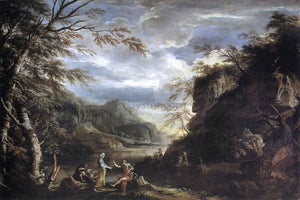 Salvator Rosa River Landscape with Apollo and the Cumean Sibyl - Canvas Art Print