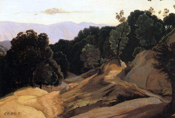 Jean-Baptiste-Camille Corot Road through Wooded Mountains - Canvas Art Print