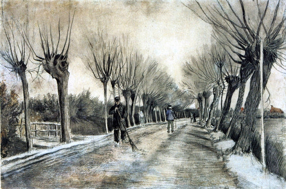Vincent Van Gogh Road with Pollarded Willows and a Man with a Broom - Canvas Art Print