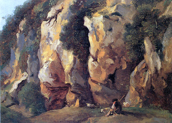 Jean-Antoine Constantin Rocky Cliff with Shepherd and Sheep - Canvas Art Print