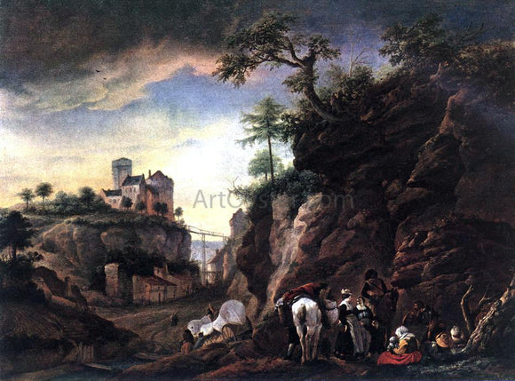 Philips Wouwerman Rocky Landscape with Resting Travellers - Canvas Art Print
